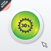 30 percent discount sign icon. Sale symbol. — Vector de stock