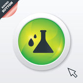 Chemistry sign icon. Bulb symbol with drops. — Foto de Stock