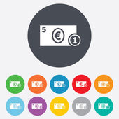 Cash sign icon. Euro Money symbol. Coin. — Stock Vector