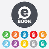 E-Book sign icon. Electronic book symbol. — ストックベクタ