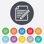Edit document sign icon. Edit content button. — Stock Vector