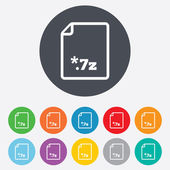 Archive file icon. Download 7z button. — Stock Photo