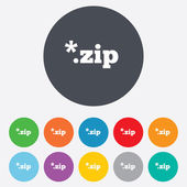 Archive file icon. Download ZIP button. — Stock Photo