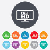 Full hd widescreen tv. High-definition symbol. — Stock Photo