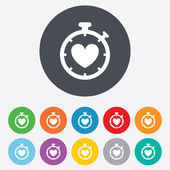 Heart Timer sign icon. Stopwatch symbol. — Stock Photo