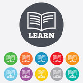 Learn Book sign icon. Education symbol. — Stockfoto