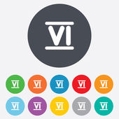 Roman numeral six icon. Roman number six sign. — Stock Photo