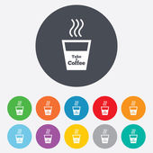 Take a Coffee sign icon. Hot Coffee cup. — Stockfoto