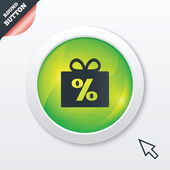 Gift box sign discount icon. Present symbol. — Stok Vektör