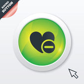 Heart sign icon. Remove lover symbol. — Stok Vektör