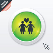 Couple sign icon. Woman love woman. Lesbians. — Stock Vector