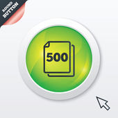 In pack 500 sheets sign icon. 500 papers symbol. — Cтоковый вектор