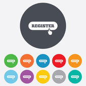 Register with hand pointer icon. Membership. — Stok Vektör