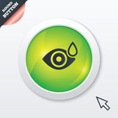 Eye with water drop sign. Drip into the eyes. — Stock Photo