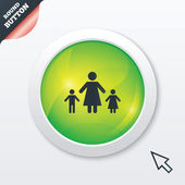 One-parent family with two children sign icon. — Stock Photo
