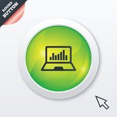 Laptop sign icon. Notebook pc with graph symbol — Stock Photo