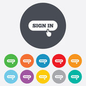 Sign in with hand pointer icon. Login symbol — Stok fotoğraf
