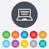 Video chat laptop sign icon. Web communication. — Stock Photo