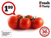 Dal taze kırmızı domates. beyaz izole. — Stok fotoğraf