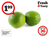 Isolated two green limes on a white background — Stock Photo