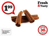 Cinnamon sticks (pods). Isolated on white — Stockfoto