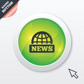 News sign icon. World globe symbol. — Stock Vector