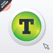 Text edit sign icon. Letter T button. — Stok Vektör