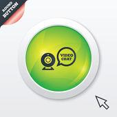 Icône de chat vidéo de signe. bulle vidéo webcam — Vecteur