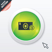 Cash sign icon. Yen Money symbol. Coin. — Stock Photo