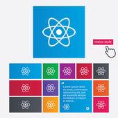 Atom sign icon. Atom part symbol. — Vettoriale Stock