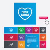 Best mom sign icon. Heart love symbol. — Vetorial Stock