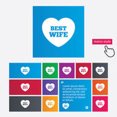 Best wife sign icon. Heart love symbol. — 图库矢量图片