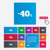 40 percent discount sign icon. Sale symbol. — 图库矢量图片