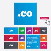 Domain CO sign icon. Top-level internet domain — Stock Vector