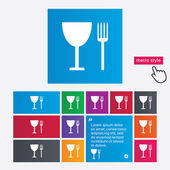 Eat sign icon. Cutlery symbol. Fork and wineglass. — Stock Vector