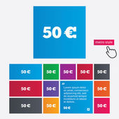 50 Euro sign icon. EUR currency symbol. — Stock Vector