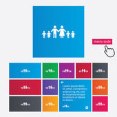 Complete large family with many children sign. — Stockvector