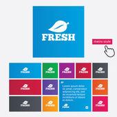 Fresh product sign icon. Leaf symbol. — Vetorial Stock