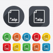 Archive file icon. Download ZIP button. — Stock Vector