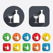 Alcohol sign. Drink symbol. Bottle with glass — Stock Vector