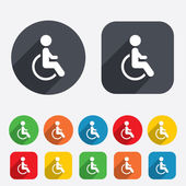 Disabled sign icon. Human on wheelchair symbol. — Stock Vector