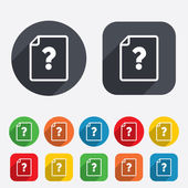 File document help icon. Question mark symbol. — Stock Vector