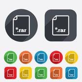 Archive file icon. Download RAR button. — Stock Vector