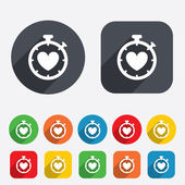 Heart Timer sign icon. Stopwatch symbol. — Stock Vector