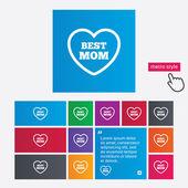 Best mom sign icon. Heart love symbol. — Stock Photo