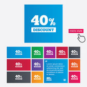 40 percent discount sign icon. Sale symbol. — Foto Stock