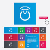 Jewelry sign icon. Ring with diamond symbol. — Stock Vector