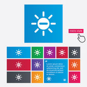 Sun minus sign icon. Heat symbol. Brightness. — Stock Vector