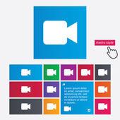 Video camera sign icon. Video content button. — Stock Vector