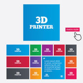 3D Print sign icon. 3d Printing symbol. — Stock Vector
